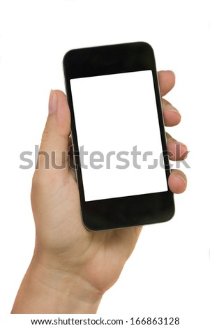 hand holding modern phone isolated on white background with copy space - stock photo