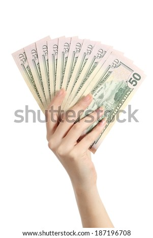 Hand holding money dollar banknotes isolated on a white background
