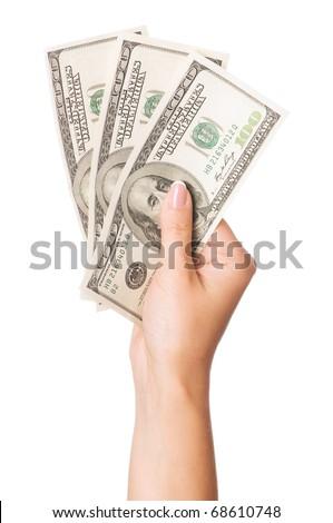Hand holding money dollars on white background - stock photo