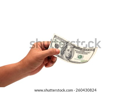 hand holding money dollars, 100 US dollar banknote isolated on white background - stock photo