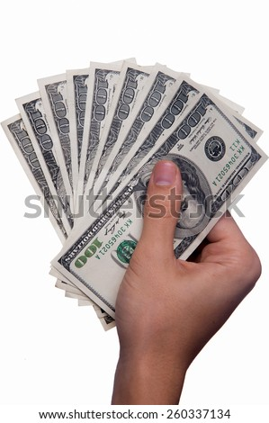 Hand holding money - United States dollar (USD)  - stock photo