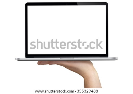 hand holding notebook with blank white monitor frontal view isolated