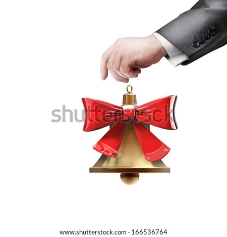 hand holding object  (Christmas handbell)  isolated on white background High resolution 3d - stock photo