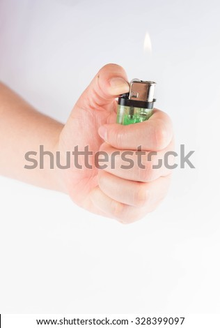 hand holding of lighter