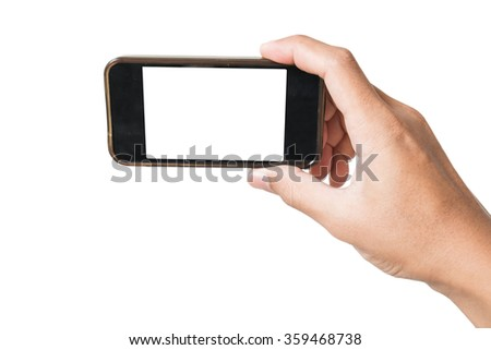 Hand holding old smartphone in selfie position, isolated on white background