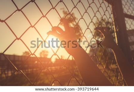 Hand holding on chain link fence.  - stock photo
