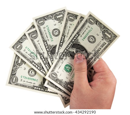 hand holding one dollar bills isolated on white background - stock photo