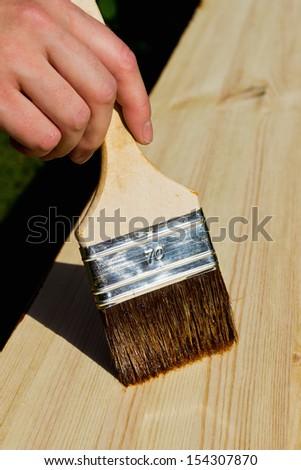 Hand holding painting brush - stock photo