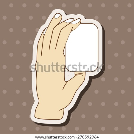 Hand holding paper cartoon stickers icon