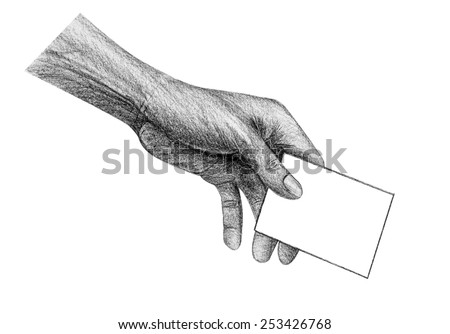 Hand holding paper drawing by pencil isolated - stock photo