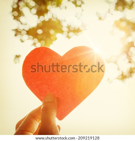 Hand holding paper heart. Instagram effect - stock photo