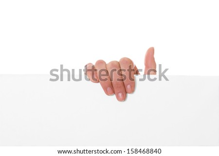 Hand holding paper isolated on white background - stock photo