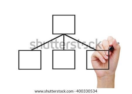Hand holding pen and blank chart on white background, business concept - stock photo