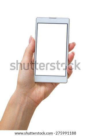 Hand holding phone - stock photo