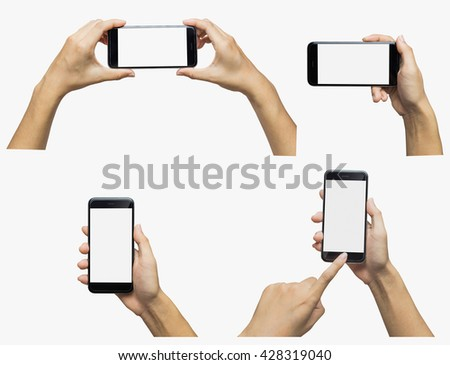 Hand holding phone blank screen. Woman hand holding iphon isolated. Hand using iphon on white background. Hand holding black color smartphone. Girl hand holding phone isolated. Smartphone white screen - stock photo