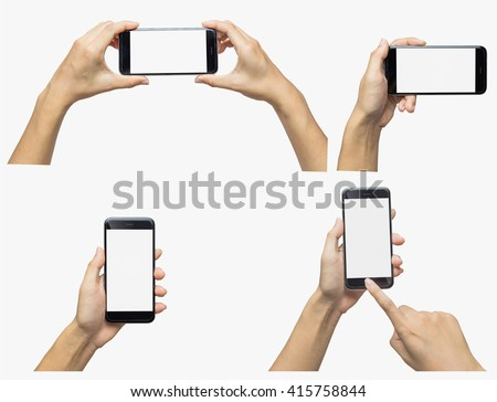 Hand holding phone blank screen. Woman hand holding iphon isolated on white background. Smartphone white screen - stock photo