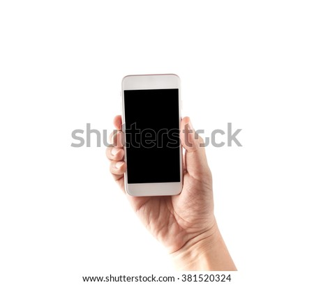 Hand holding phone isolated with clipping path inside - stock photo