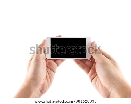 Hand holding phone isolated with clipping path inside