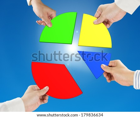 Hand holding pie chart 3d with blue sky background