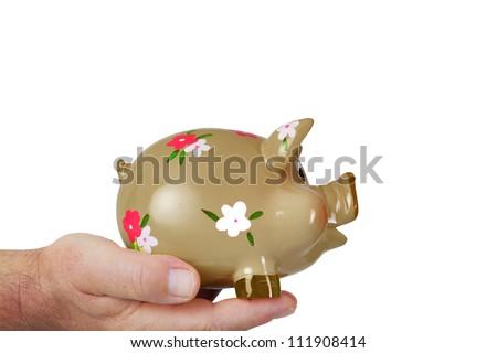 Hand holding piggy bank - stock photo