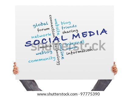 hand holding Poster Social media concept and other related words - stock photo