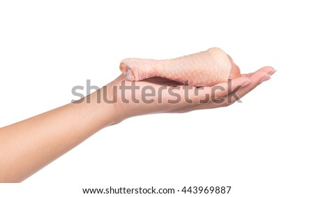 hand holding Raw Chicken meat isolated on white background