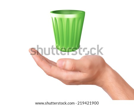 hand holding recycle bin. ecology concept on white background - stock photo