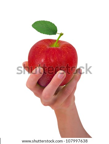 Hand holding red apple isolated on white - stock photo