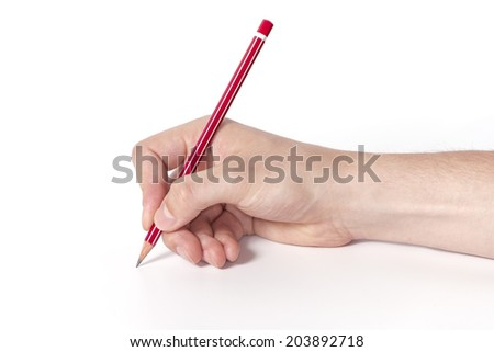 Hand holding red crayon.