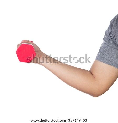 Hand holding red dumbell on isolated white background