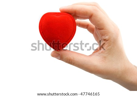 hand holding red heart box
