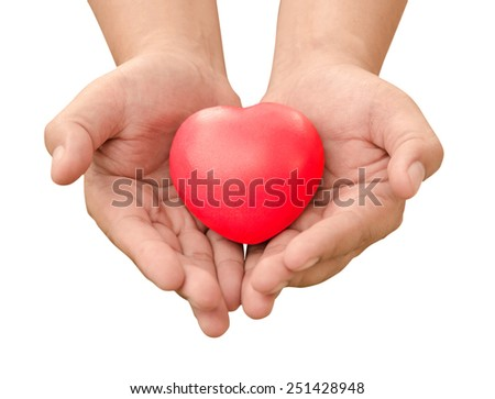hand holding red heart sent love in Valentine's day isolate on white background.