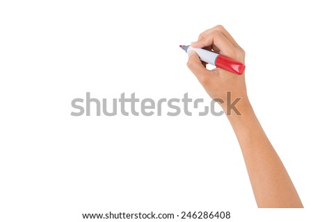Hand holding red marker for writing isolated on white background - stock photo
