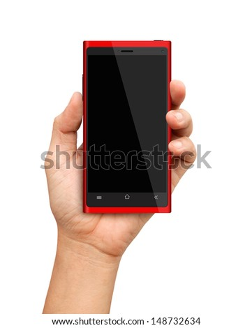 Hand holding Red Smartphone with blank screen - stock photo