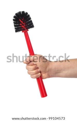 Hand holding red toilet brush isolated on white background