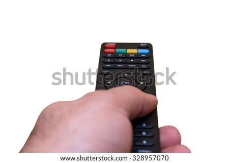 hand holding remote control isolated on white background - stock photo