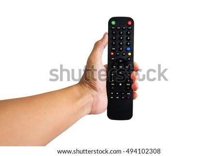 Hand holding remote control pointing forward, isolated at white