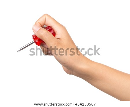Hand holding screwdriver isolated on white background