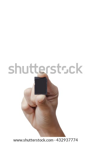 Hand holding Sd card isolate on white background. - stock photo