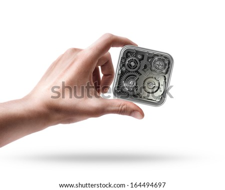 hand holding settings APPS icon  isolated on white background High resolution 3d