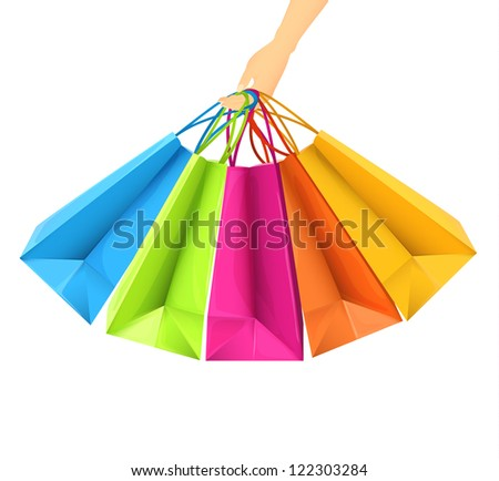 Hand holding shopping bags  - raster version - stock photo