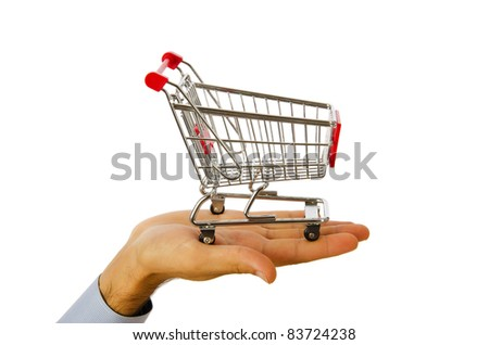 Hand holding shopping cart on white - stock photo