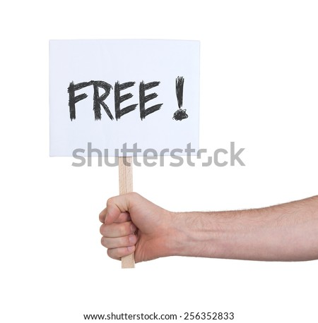 Hand holding sign, isolated on white - Free