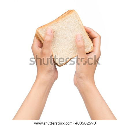Hand holding slice bread isolated on white background