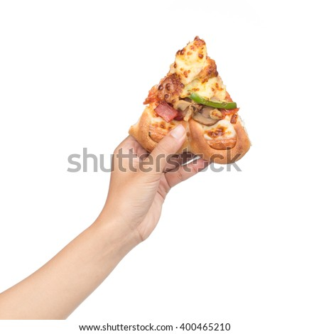 hand holding slice pizza isolate on white background - stock photo