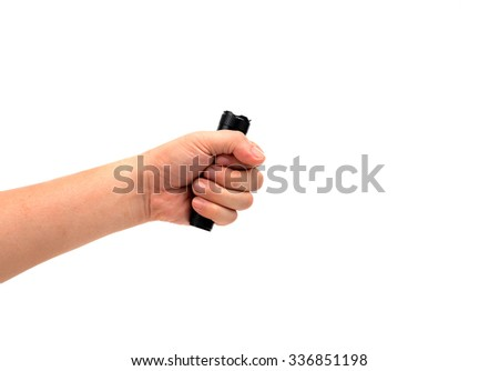 hand holding small torch  isolated on white