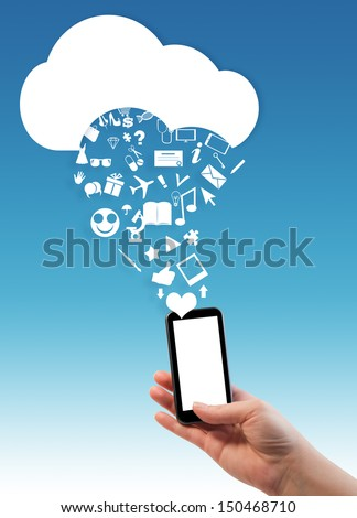 Hand holding smart/mobile/cell/phone with cloud and icons/Cloud computing concept, where hand holding smartphone with cloud and various web icons dropping out of it, blue sky background