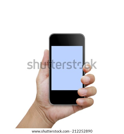 hand holding smart phone - stock photo