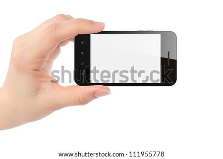 Hand holding smart phone isolated on white - stock photo
