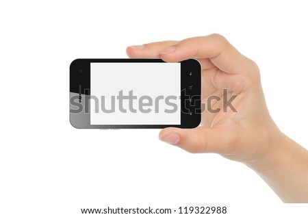 Hand holding smart phone isolated on white - stock photo